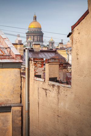 isaac: Saint-Petersburg, Russia. Cityscape of old central city part with St. Isaac cathedral dome, view from a roof Stock Photo