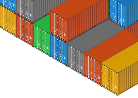 tare: Stacked colorful metal freight shipping containers on white background. 3d illustration, isometric projection