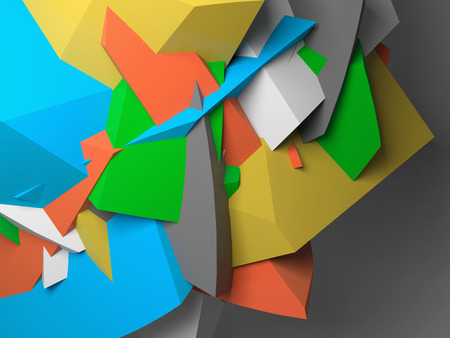 fragments: Abstract colorful  chaotic polygonal fragments on gray background. 3d illustration Stock Photo
