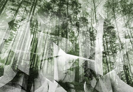 photo collage: Abstract surreal forest background. Green toned photo collage with chaotic 3d structure Stock Photo