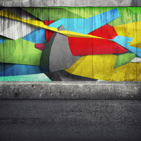 photo collage: Abstract 3d graffiti fragment on the concrete wall. Photo collage with 3d illustration elements Stock Photo