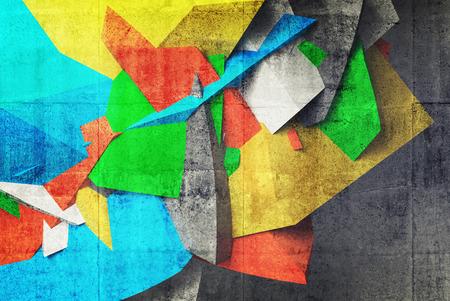 estilo urbano: Fragmento de la pintada 3d abstracta en la pared interior de aparcamiento de hormig�n. Collage de fotos con elementos ilustraci�n 3d Foto de archivo