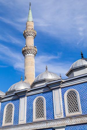 fatih: Minaret of Fatih Camii (Esrefpasa) old mosque in Izmir, Turkey Stock Photo