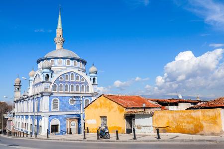 fatih: Street view with Fatih Camii (Esrefpasa) old mosque in Izmir, Turkey