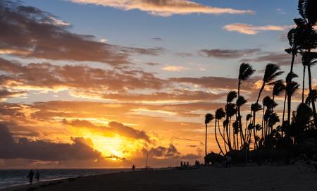 uprise: Sunrise over Atlantic ocean coast with palm trees silhouettes. Hispaniola island, Dominican republic Stock Photo