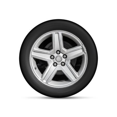 aluminum wheels: Automotive wheel on light alloy disc isolated on white background with soft shadow Stock Photo