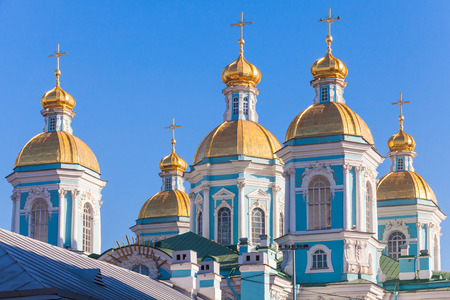 st nicholas cathedral: Orthodox St. Nicholas Naval Cathedral, facade fragment with golden domes, St. Petersburg, Russia