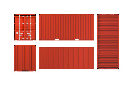 Projections of red cargo container isolated on white background, 3d illustration 스톡 콘텐츠