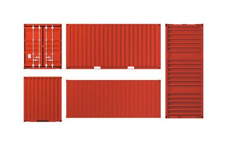 Projecties van rode cargo container op een witte achtergrond, 3d illustratie Stockfoto - 37914244