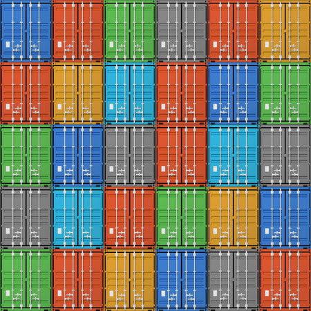 Seamless background texture of stacked colorful cargo containers, 3d illustration Standard-Bild