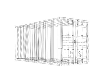 tare: Cargo container, digital wireframe view isolated on white background, 3d illustration Stock Photo