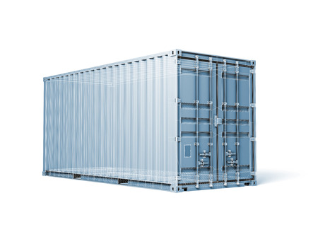 container box: Cargo container, digital blue toned render with wireframe lines isolated on white