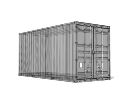 tare: Cargo container, monochrome digital 3d render with wireframe lines isolated on white background Stock Photo