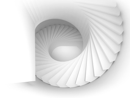 spiral stairs: Abstract white spiral interior perspective with stairs. 3d render illustration