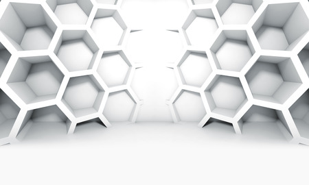 futuristic design: Abstract white symmetric interior with honeycomb structures on the wall, 3d illustration