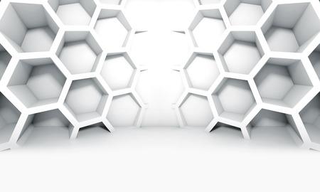 Abstracte witte symmetrische inter met honingraat structuur op de muur, 3d illustratie