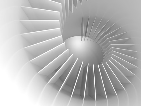 biege: Abstract white spiral structure perspective. 3d render illustration