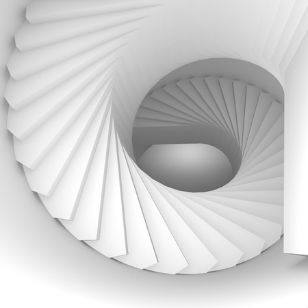 spiral stairs: Abstract white spiral interior perspective with stairs. 3d illustration Stock Photo