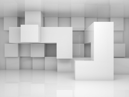 Abstract architecture background with white chaotic cubes pattern on the wall. 3d render