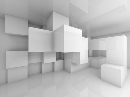 Abstract architecture background with white chaotic cubes structure on the wall. 3d render