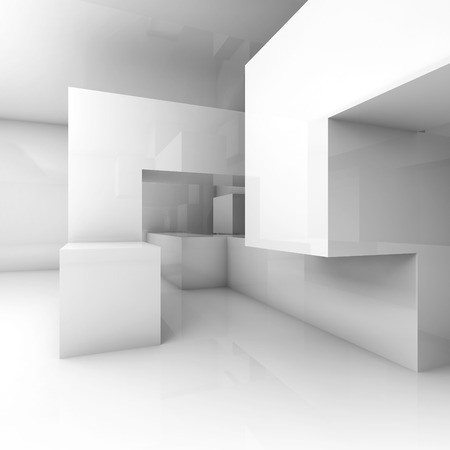 Abstract architecture background with chaotic geometric structure in empty room. 3d render