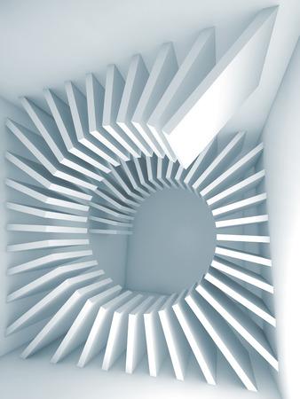 らせんの装飾と抽象的な青い空部屋のインテリア。3 d レンダリング図 写真素材