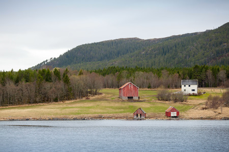 forest river: Traditional Norwegian small village, colorful wooden houses and barns on seacoast