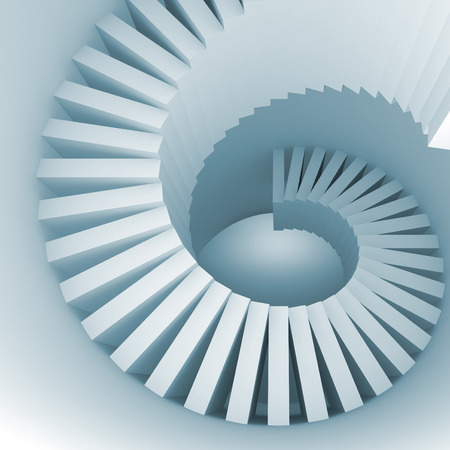 spiral stairs: Abstract blue white spiral interior perspective with stairs. 3d illustration Stock Photo
