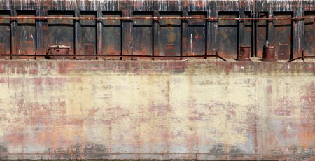 hull: Detailed closeup old rusted barge hull background photo texture Stock Photo