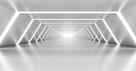 Abstract illuminated empty white corridor interior made of shining metal, 3d illustration Standard-Bild