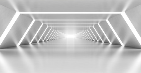 Abstract illuminated empty white corridor interior made of shining metal, 3d illustration Standard-Bild