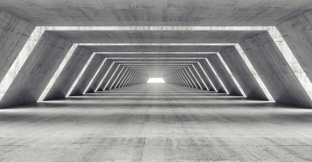 Abstract illuminated empty corridor interior made of gray concrete, 3d illustration