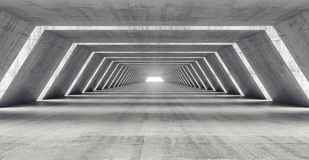 Abstract illuminated empty corridor interior made of gray concrete, 3d illustration