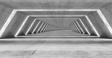 Abstract illuminated empty bent corridor interior made of gray concrete, 3d illustration