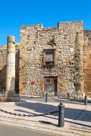 empires: Ancient roman column on Via del Imperi Roma, the Way of Empires Rome in Tarragona, Spain Stock Photo