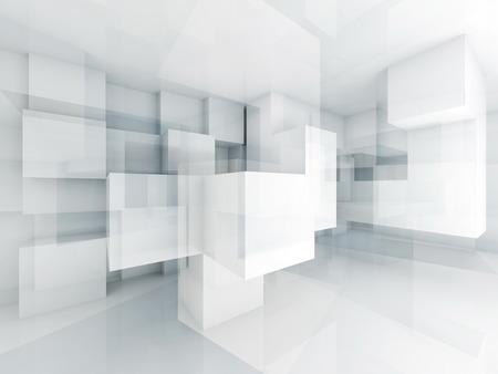 Abstrakt Architektur Hintergrund mit chaotischen Würfel Struktur. 3D Render-Abbildung
