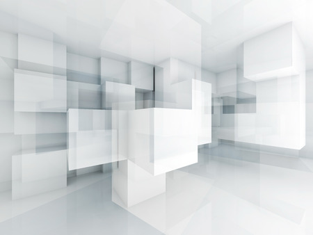 arquitectura: Fondo abstracto con arquitectura estructura cubos caóticas. 3d ilustración