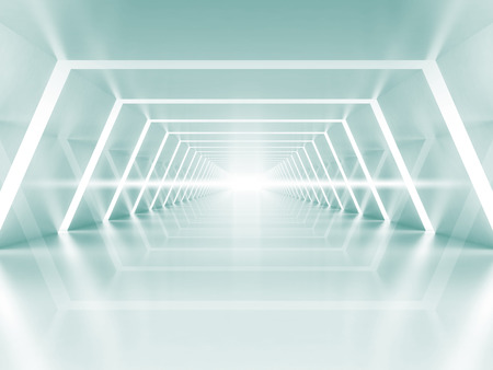 Abstract illuminated empty light blue shining corridor interior, 3d render illustration