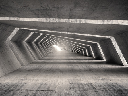 Abstract illuminated empty bent concrete corridor interior, 3d illustration