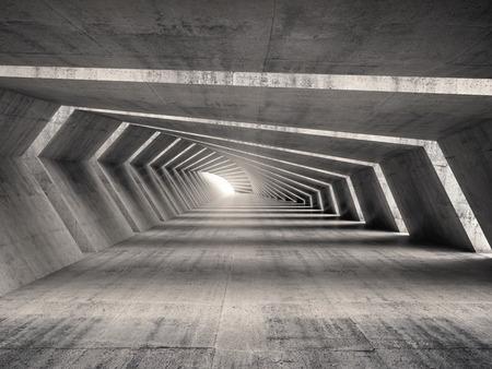 Abstract illuminated empty bent concrete corridor interior, 3d illustration