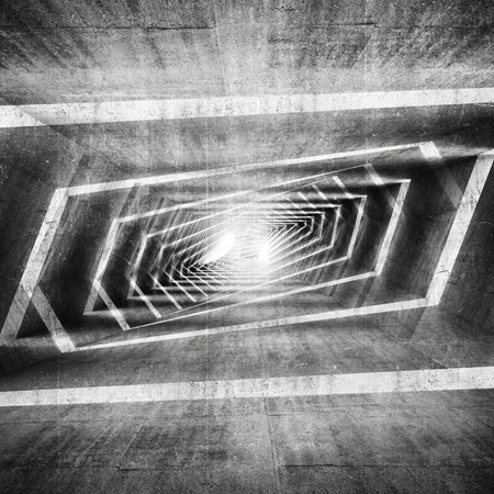Abstract dark grungy concrete surreal tunnel interior background, 3d illustration
