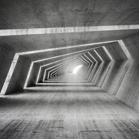 end of road: Abstract illuminated empty bent concrete corridor interior, 3d render illustration