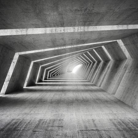 Abstract illuminated empty bent concrete corridor interior, 3d render illustration