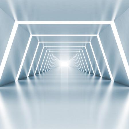 抽象的な空光青光る廊下インテリア照明、3 d レンダリング図