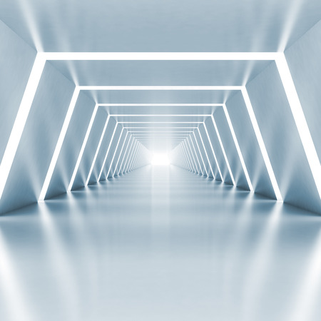 Abstract empty light blue shining corridor interior with illumination, 3d render illustration