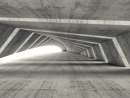 Abstract empty illuminated bent concrete corridor interior, 3d render illustration