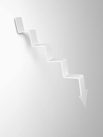 going down: Arrow in shape of stairway going down, 3d illustration