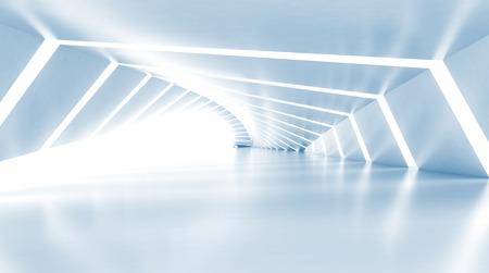 Özet boş aydınlatılmış açık mavi parlayan koridor iç, illüstrasyon 3d render