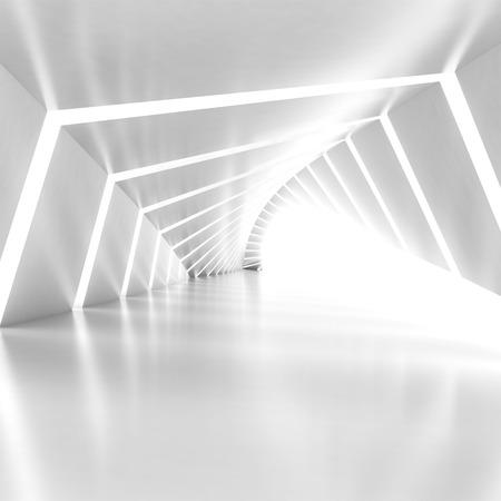 曲がった廊下を輝く抽象空照らされた白い間、3 d レンダリング図では、正方形の組成