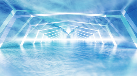 Abstract blue cloudy shining surreal tunnel interior background, 3d illustration